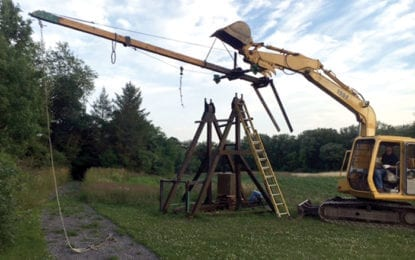 READY TO LAUNCH: Our Farm's pumpkin launching trebuchet back in action after repairs