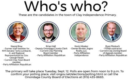 Clay Town Board candidates to face off in Independence primary