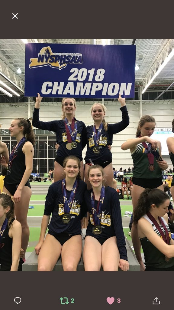 F-M girls indoor track win state 4×800 relay