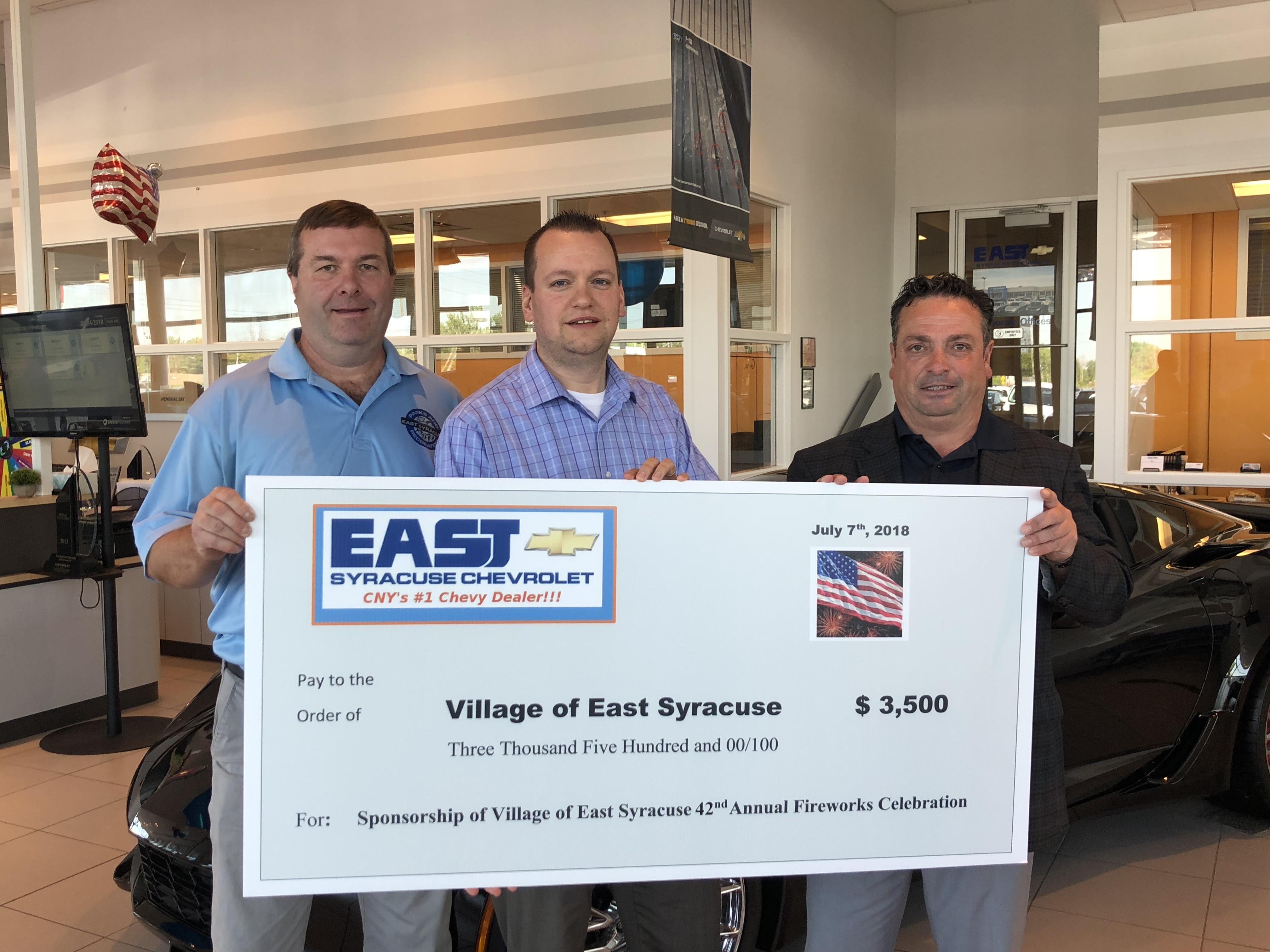Eagle News line – East Syracuse Chevrolet sponsors village fireworks