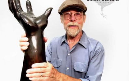 Sculptor visiting Cazenovia Public Library to discuss The Lincklaen Statue