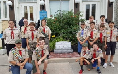 Eagle Scout candidate installs monument to first responders