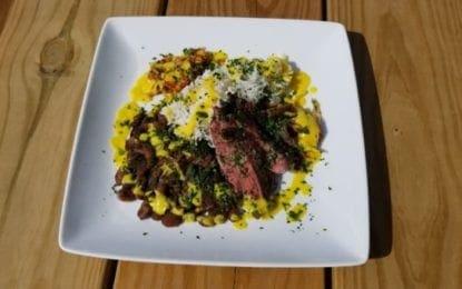 WHAT WE'RE EATING: Jerk Skirt Steak and Corn Sauce
