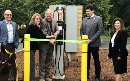 New electric car charging stations unveiled at DeWitt Town Hall
